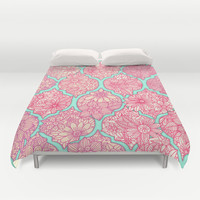 Moroccan Floral Lattice Arrangement in Pinks Duvet Cover by micklyn