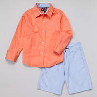 Orange Button-Up & Blue Shorts - Toddler & Boys | something special every day