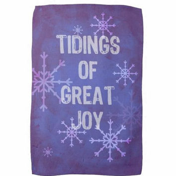 Christmas tea towel, kitchen word art, tidings of great joy, snowflakes, winter christmas message, blue purple decor accessory