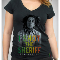 "Bob Marley Burnin' ""I Shot the Sheriff"" Laser Lace Back Junior Fitted Tee"