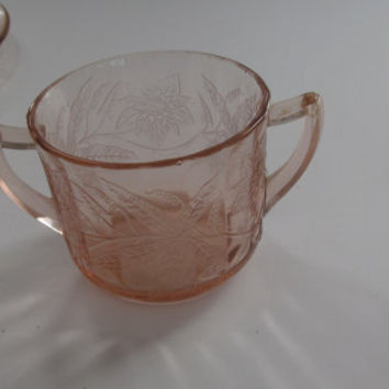 Jeannette Pink Depression Poinsettia Pattern Lovely Vintage Pink Depression Glass Sugar Bowl Double Handle Sugar Bowl Pink Glass Sugar Bowl