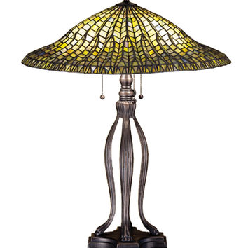 31 Inch H Tiffany Lotus Leaf Table Lamp