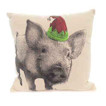 Christmas PIG IN ELF HAT PILLOW Fabric Home Decor Mppigelf