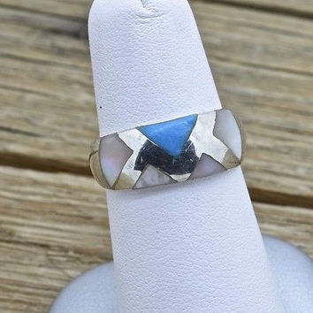Vintage Sterling Silver Mother Of Pearl and Turquoise Inlay Ring 925 Jewelry