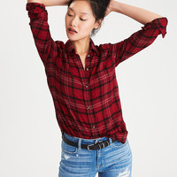 AEO Ahh-Mazingly Soft Plaid Boyfriend Shirt, Red
