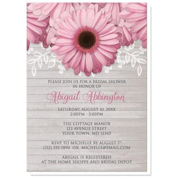 Rustic Pink Daisy Gray Wood Bridal Shower Invitations for only $1.95
