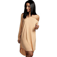 Long-Sleeve Off-Shoulder Asymmetrical Dress