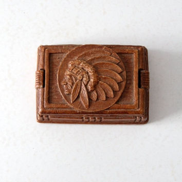 SALE vintage Syroco style valet box / Indian chief composite wood cigarette box