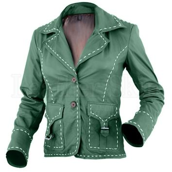Green Women Genuine Leather Jacket