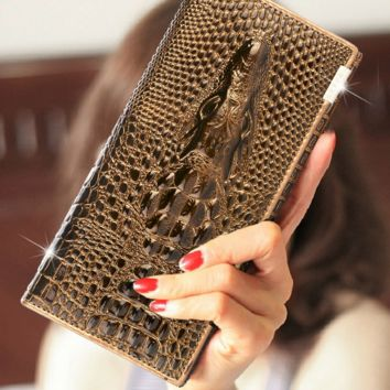 Retro Crocodile Leather Card Holder Wallet