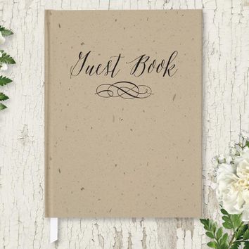 Wedding Guest Book, Hardcover, Rustic Kraft, Choice of Sizes