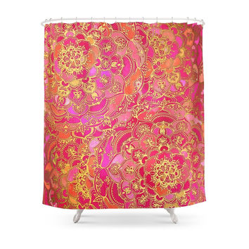 Society6 Hot Pink And Gold Baroque Floral Pattern Shower Curtains