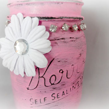 Pink Bling Decorated Vase, Hand Painted Mason Jar, Girls Room Decor
