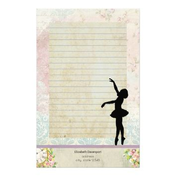 Ballerina Silhouette on Vintage Pattern Lined Stationery
