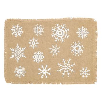 Snowflake Burlap Placemat Set of 6 12x18