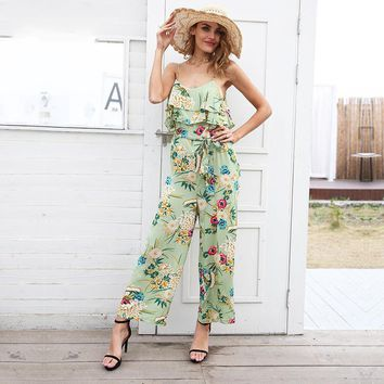 8DESS Boho floral print strap tiered ruffle jumpsuit women Sexy high waist wide leg loose jumpsuit