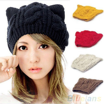 Women's Winter Knit Crochet Braided Cat Ears Beret Beanie Ski Knitted Hat Cap  1QEW 4BTT