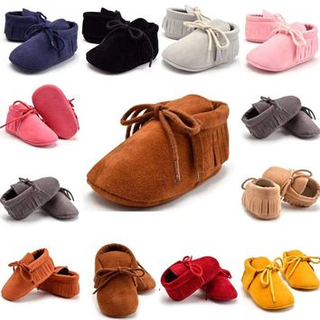 USA Stock Infant Baby Boys Girls Soft Sole Boots Tassel Moccasin Crib Shoes