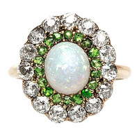 Opal, Diamond & Demantoid Gold Victorian Ring