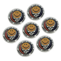 """Vintage Inspired Grateful Dead SMILE Pin-Back Button 1 1/4"""" Metal Pinback // Bootleg Graphic // 70s // 1970s // Jerry Garcia // Smiley Face"""
