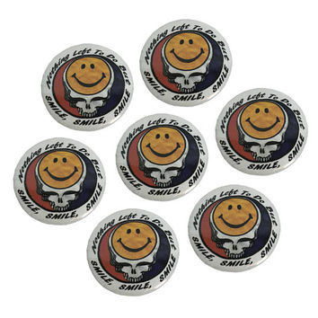"Vintage Inspired Grateful Dead SMILE Pin-Back Button 1 1/4"" Metal Pinback // Bootleg Graphic // 70s // 1970s // Jerry Garcia // Smiley Face"