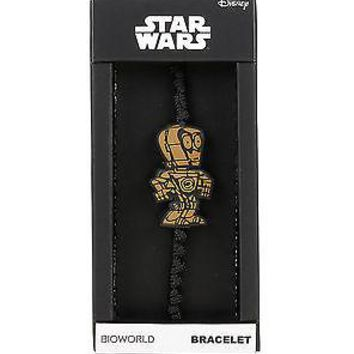 Licensed cool Disney Star Wars C-3PO Droid Robot Pendant Knotted Black Cord Bracelet Boxed NEW