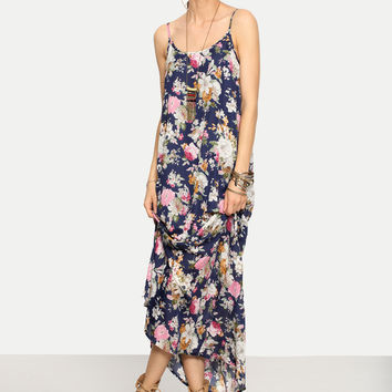 Multicolor Floral Spaghetti Strap Maxi Dress | MakeMeChic.COM