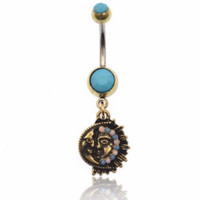 Brand New Half Of Sun & Moon Face Surgical Steel Dangle Belly Button Rings  *FREE SHIPPING*