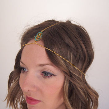 Hamsa gold chain headdress, bohemian headpiece, tribal festival accessories, gypsy jewelry