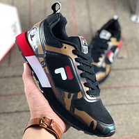 FILA x AAPE joint summer camouflage sports casual breathable mesh running couple shoes F-AA-SDDSL-KHZHXMKH black