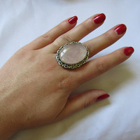 Silver Plated Large Stone Ring - Purple