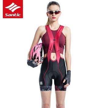 Santic Women Cycling Shorts Pro Team Downhill Mountain Road Bike Shorts Italian Imported Padded Bicycle Shorts Bermuda Ciclismo
