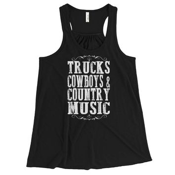 Trucks, Cowboys & Country Music - Flowy Racerback Tank Top - Various Colors Available