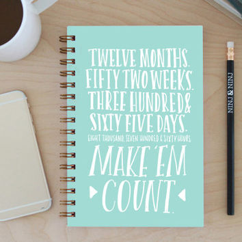 "2015-2016 Weekly Planner: 12-month Academic ""Make Em Count"" with back pocket, bronze wire binding, stickers and tabs"