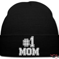 number one mom beanie knit hat