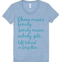 ohana means family-Female Athletic Blue T-Shirt