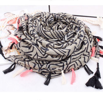 New Stripe Geometry Shawl Fringed Infinity Scarf