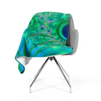 "Alison Coxon ""Fractal Turquoise"" Fleece Throw Blanket"