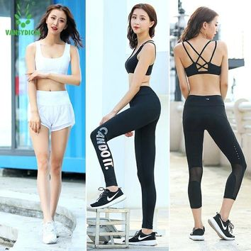 Vansydical Fitness Sport Suit Women's Gym Yoga Set Quick Dry Tracksuit Womens Sportswear Running Yoga Clothes