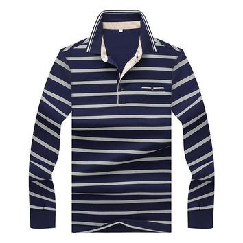 2018 New Arrival Smart Casual Polo Shirt Men Brands Breathable Cotton Long Sleeve Striped Polo Homme Formal Business Camisa Polo