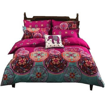 Bohemian 4 /3PCS3d  bedding sets Sham Boho Mandala duvet cover set winter bedsheet queen king size Cotton folk-custom Bed set