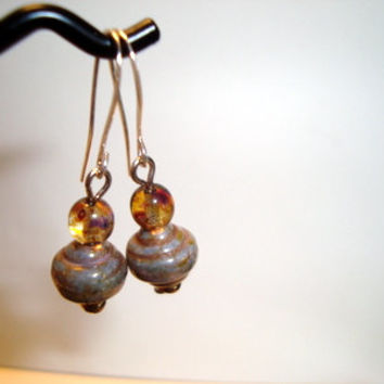 Casual Design Khaki and Blue Lampwork Beaded Earrings with Honey Colored Accents on Handmade Sterling Silver ear wires,,Fine Jewelry