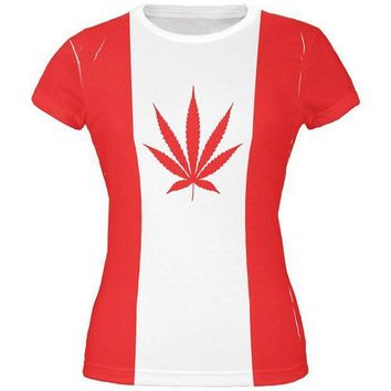 ESBGQ9 Canada Flag Pot Leaf Marijuana All Over Juniors T Shirt
