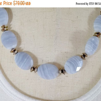 Vintage Blue Lace Agate Necklace Multi Faceted High Quality Stones Handmade Sterling Silver Clasp Spacer Beads Cool Summery Boho Nice!