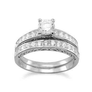 Sterling Silver CZ Engagement Ring and Wedding Band Set