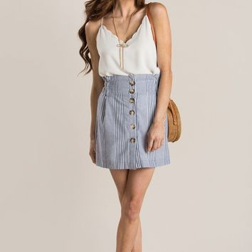 Maria Blue Striped Button Mini Skirt