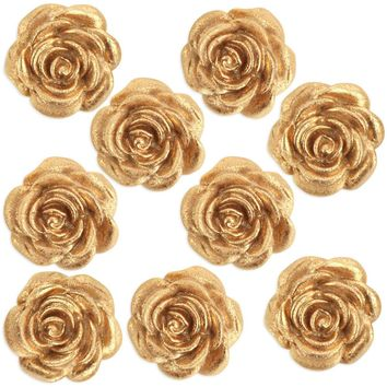 Metallic Gold Fondant Tea Roses