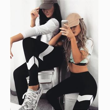 Fashion sports yoga pants printed stretch tight pants - sports pants
