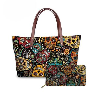 Women Sugar Skull Print 1 or 2 Piece Set Fashion Shoulder Tote Bag