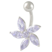 Girls Beautiful Flower Non-Dangle Lavender Crystal Belly Button Ring [Gauge: 14G - 1.6mm / Length: 10mm] 316L Surgical Steel & Cubic Zirconia
